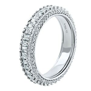 Women's Baguette Round CZ Eternity Band Stackable Ring Real Sterling .925 Silver