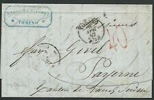 ITALY TO SWITZERLAND 1862 entire Turin to Payerne..........................61826