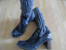 EL NATURALISTA schöne Stiefel mit Strickstulpen schwarz grau Gr. 39 TOP KD315