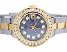 Ladies Rolex Datejust Two Tone 18K/ Steel 26MM Blue Dial Diamond Watch 3.0 Ct