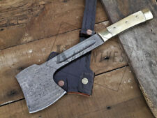 CUSTOM  MADE DAMASCUS STEEL BLADE  HATCHET, AXE WITH CAMEL BONE HANDLE
