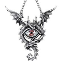 Red Eye of the Dragon Flying Wings Pewter Pendant Necklace Alchemy Gothic P832