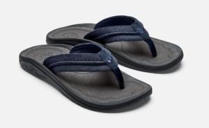 Olukai Hokua Mesh Night/Charcoal Comfort Flip Flop Men's sizes 7-15 NIB!!!
