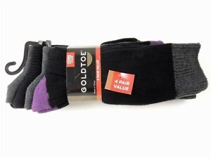GOLD TOE Casual Combed Cotton Socks Value Pack B 4 Pairs Black One Size