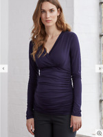 RRP £49 - ISABELLA OLIVER T-SHIRT TOP Maternity Navy Blue Jersey Stretch UK 14