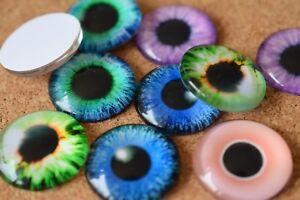 5 Pairs Eyes 10 pcs Glass Domed Round, cabochon, Flat back mix pattern set -20mm