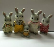 Sylvanian Families Gray Rabbits Family Collection 5pcs Set Loose