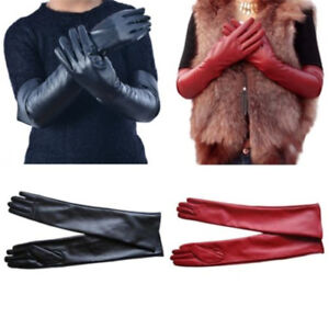 Womens Long Leather Gloves Full Finger Hand Winter Warmer Elbow Opera Gloves New