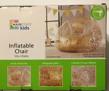 Mainstays Kids Inflatable Sturdy Holographic Glitter Chair, Gold, Holds 250 Lbs