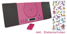 Stereoanlage Pink Wandmontage Wecker Sleeptimer CD Radio MC 5010P Einhornsticker