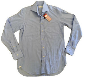 New GHIRARDELLI Buisness Shirt 38 / 15 100% Cotton Light Blue RRP $315