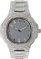 Men Fully Iced Watch Silver Oblong Bling Rapper Simulate Lab Diamond Band Luxury