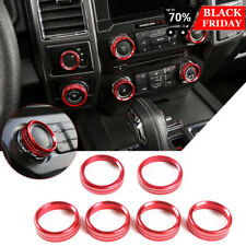 6pcs Air Conditioner Trailer 4WD Audio Switch Knob Ring Cover for Ford F150 XLT