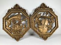 """2 VTG 1976 Dart HOMCO Gold SYROCO Musical Instrument Wall Plaque 7402 C&D 12x8½"""""""