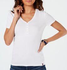 Tommy Hilfiger Women's Top White Size XL Knit Lace Detail Henley $39- #353