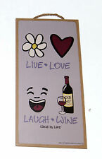 "Live Love Laugh Wine Wine is Life Novelty 5"" x 10"" Wood sign for Bar, Kitchen"