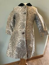 Gymboree Prim and Proper Girls Silver Paisley Brocade Lined Coat 3 Years