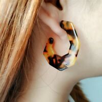 LIGHTWEIGHT RESIN LEOPARD PRINT ACRYLIC HOOP TORTOISESHELL EARRINGS LP07