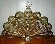 Vintage Brass Peacock Fireplace Folding Screen