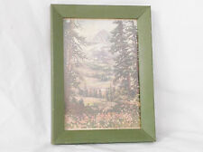 Vintage Sheep in Meadow-Shepard & Dog-Mountain Scene-Framed-6 X 8""