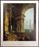 "Hubert Robert ""The Obelisk"" 1965 Vintage New York Graphic Society Poster no.7460"