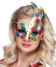 Ladies Venetian Jester Mask Deluxe Gold Venice Masquerade Harlequin Eye Mask NEW