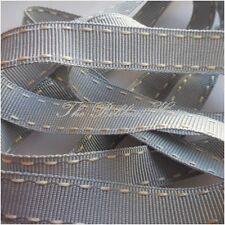 Berisfords R133915 | Stitched Grosgrain Ribbon 15m X 15mm Silver Grey / Ivory