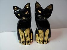 2 Vintage Ceramic Egyptian Style Black Cats Figurines NICE
