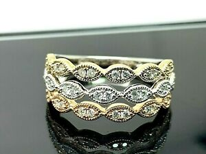 Wedding Anniversary Band 3/8ctw Diamonds 10k Gold Tri Color Ring Women's Size 8