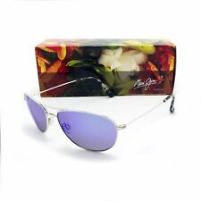 NEW Maui Jim BABY BEACH Silver & Blue Hawaii Polarized B245-17