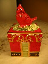 Nib Fitz and Floyd Winter Claus Lidded Box With Cardinal Bird on Top 2015