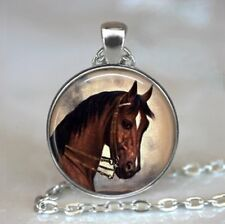Vintage Horse Photo Tibet Silver Cabochon Glass Pendant Chain Necklace