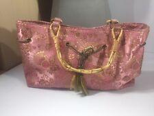 Fiona Lang Handbag Bamboo Handle Pink Floral Embroider Detail Small