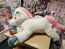 """23"""" Unicorn Plush teddy Girls Soft Large Cuddly Toy gift bed white rainbow xmas"""