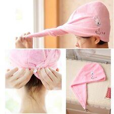 Cute Rabbit Microfiber Towel Turban Hair-Drying Cap Bathrobe Hat Head Wrap NEW
