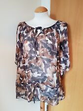 ladies sheer tunic top size 20 brown cream cover up holiday