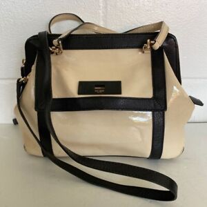 Kate Spade New York Womens Satchel Handbag Beige Turnlock Adjustable Strap Large