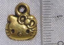 Lot de 10 breloques CHAT KITTY en métal doré 11x13mm perles pendentifs *O82
