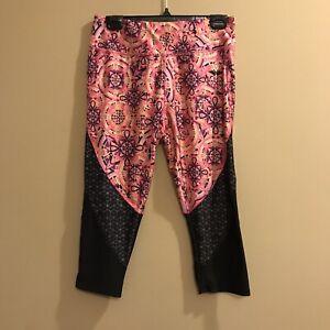 Womens Danskin Now Capri Leggings Pink Boho Pattern Sz M Fitness Gym Yoga