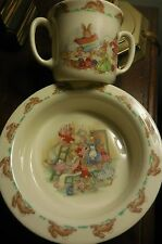 Rare Bunnykins Round Bowl & Two Handled Cup 1936 Royal Doulton Wall Paper Scene