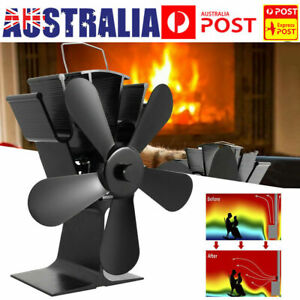5 Blade Fan Heat Self-Powered Wood Stove Top Burner Fireplace Silent Eco Heater