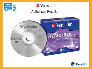 ($0 P & H) Verbatim DL Dual Layer DVD+R DL 8.5GB 5Pk 8x in Cases p/n 43541