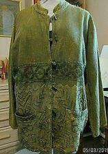 RAAGA Woman's Olive Green Neru Jacket- Free Size-100% Cotton- Pre-owned-REDUCED