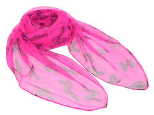 "Women's Very Sheer 100% Silk Scarf / Pink / Butterfly Print / 70"" X 40"""