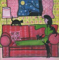 OrIgInAl FoLk ART PaInTiNg KiTTeNs BlAcK CaTs MooN LaDy CouCh StArS PiNk ReD