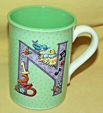 Mary Engelbreit Mug Initial N Nest Note 2003 Coffee Tea Cup Green White Used.