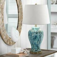 Asian Table Lamp Ceramic Teal Glaze Patterned White for Living Room Bedroom