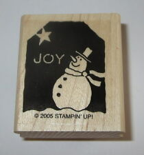 Joy Snowman Rubber Stamp Gift Tag Stampin' Up! Christmas Winter Retired Wood Mtd