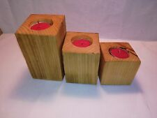Handmade Reclaimed Set of 3 Square Wooden Tealight Candle Holders