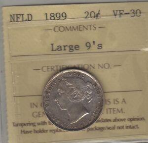 1899 Newfoundland (Large 9) Silver Twenty Cents Coin. ICCS VF-30